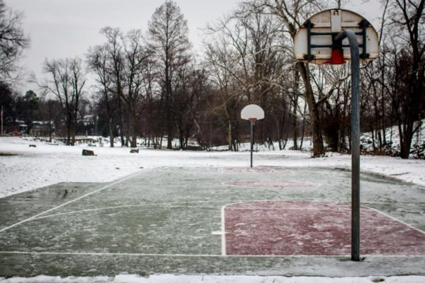 Snow-covered basketball court (Flickr pool photo by Ddimick)