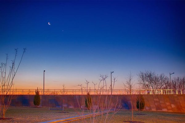 The moon and Venus over Long Bridge Park (Flickr pool photo by Joseph Gruber)