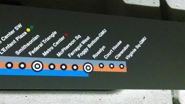 Erroneous Metro signage at Virginia Square (photo via @DCtransitnerd)