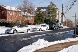 Cars parked along S. Greenbrier Street in Forest Glen