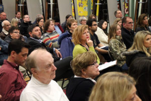 The crowd listens to speakers at the WCA meeting 3/13/14