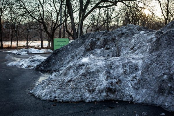 Large pile of snow in the Bluemont Park parking lot (Flickr pool photo by @ddimick)