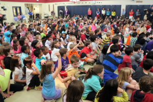 Ashley Wagner speaks to students at Arlington Science Focus Elementary