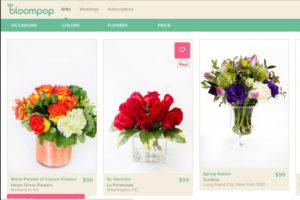 Screenshot of Bloompop's website