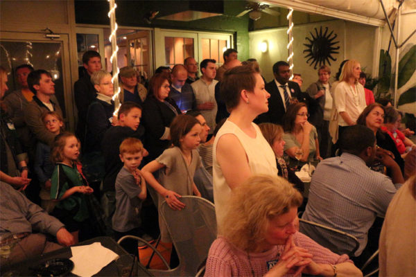 The crowd at the Democrats' election party at Whitlow's