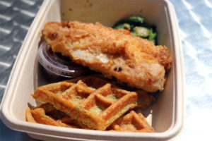 Chicken and zucchini waffles by the Green Spoon