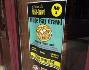 Cinco De MEGA-Crawl sign in Clarendon