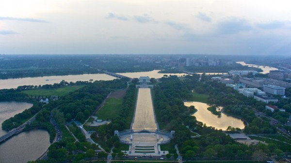 Looking across the Potomac toward Virginia from the top of the Washington Monument (Flickr pool photo by Joseph Gruber)