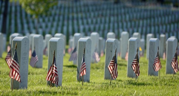 Flags in at Arlington National Cemetery (Flickr pool photo by Sunday Money)