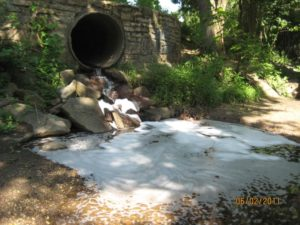 Soap suds in a waterway in Bluemont (photo courtesy Arlington County)