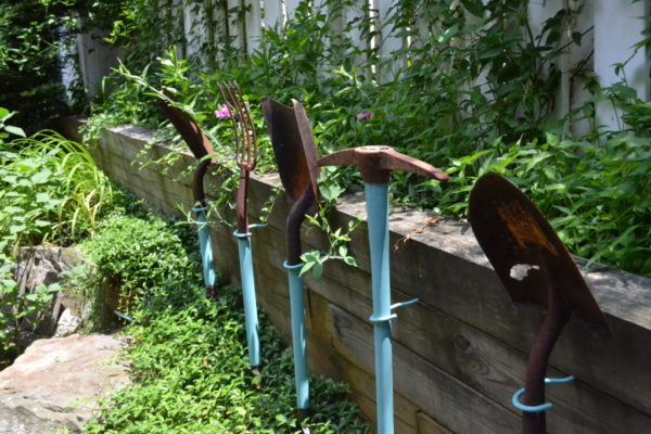 Gardening tools displayed in Jennings' garden.