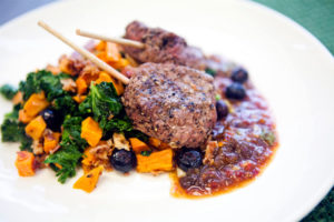 Power Supply meal of steak skewers with kale, sweet potato, bacon and blueberry salad