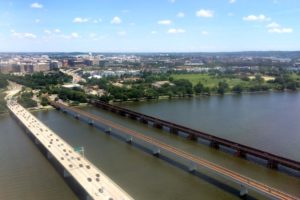 View of D.C., the 14th Street Bridge and the Yellow Line bridge on the Potomac