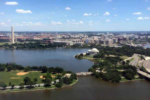 View of the D.C. monuments and skyline from a flight arriving at DCA