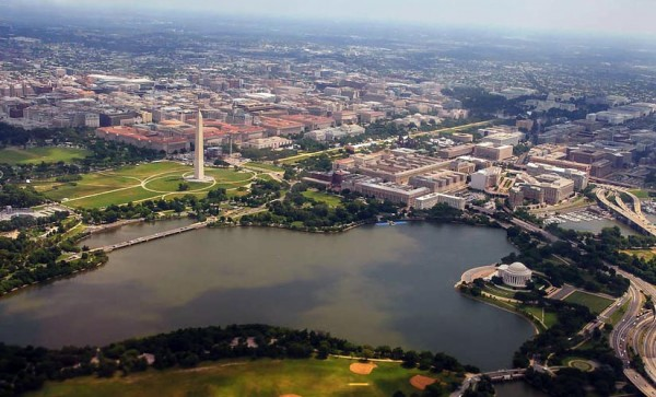 Tidal Basin an D.C. monuments, as seen from a flight arriving at DCA (Flickr photo by Rob Cannon)