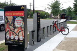 The new Capital Bikeshare stations at N. Cleveland Street and Lee Highway (photo via Twitter)