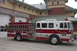 Engine 106 in front of the Falls Church Fire Station, also now as Arlington Station 6 (photo via FCVFD)