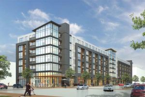 Rendering of the proposed 672 Flats apartment building (image courtesy The Penrose Group)