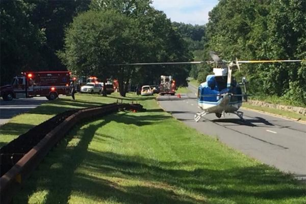 U.S. Park Police helicopter on the ground after serious crash on GW Parkway (photo courtesy @CAPT258)a