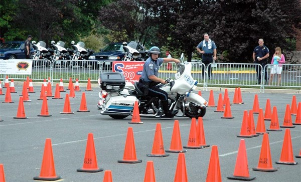"An ACPD motor officer participates in a police ""motor rodeo"" in Chantilly over the weekend (photo courtesy Danielle Newcombe Horvath)"