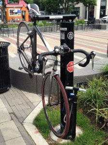 Bike Fixit Stand in Clarendon (photo via BikeArlington)