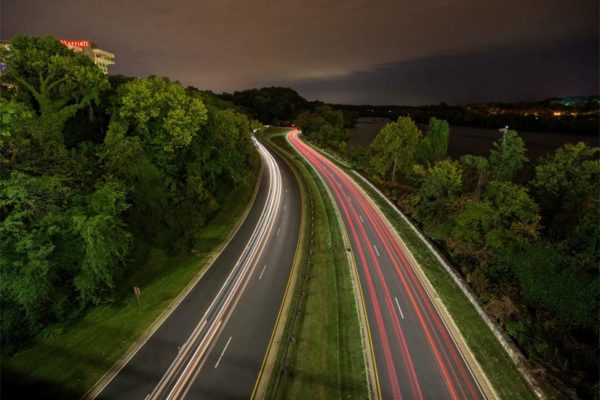 Traffic on the GW Parkway at night (Flickr pool photo by Kevin Wolf)