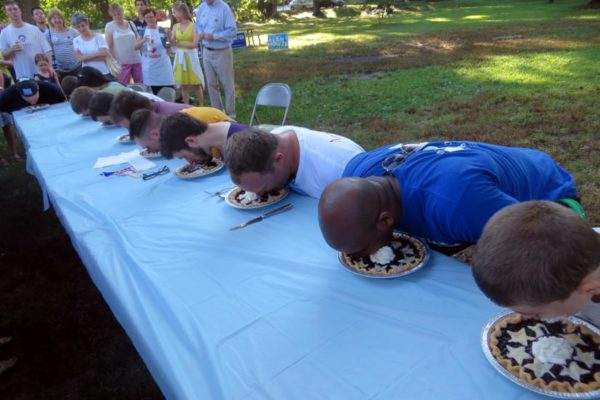 Arlington Democrats pie-eating contest 2014 (Flickr pool photo by Alan Kotok)