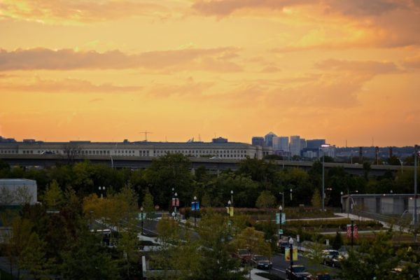 Sunset over Long Bridge Park, the Pentagon and Rosslyn (Flickr pool photo by Joseph Gruber)