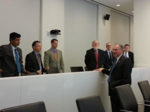 Sen. Tim Kaine at the Virginia Tech Research Center in Arlington (photo via Office of Sen. Tim Kaine)