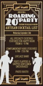 Fire Works 20s Party flyer