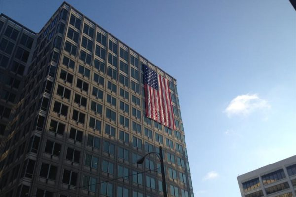 Flag on a building in Rosslyn (photo courtesy anonymous)
