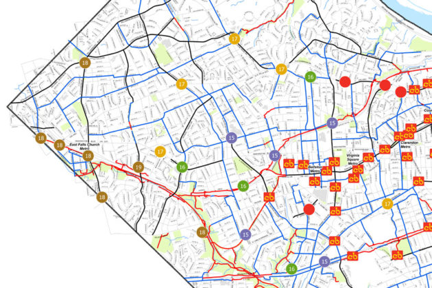 Bikeshare stations in Arlington. Future stations are indicated by funding year