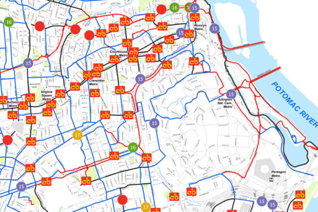 Capital Bikeshare stations in the R-B corridor. Future stations are indicated by funding year