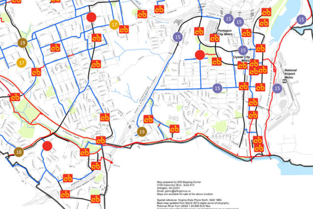 Capital Bikeshare stations in Arlington. Future stations are indicated by funding year