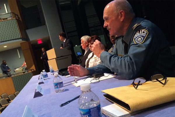 Police Chief Doug Scott at a community forum on policing