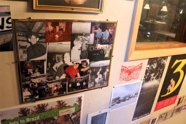 Pictures on the wall of Inner Ear Studio