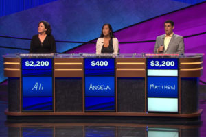 Arlington resident Matthew LaMagna, right, on Jeopardy (photo courtesy Jeopardy Productions, Inc.)