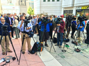 Crowds gather in Courthouse for same-sex marriage press conference on 10/6/14