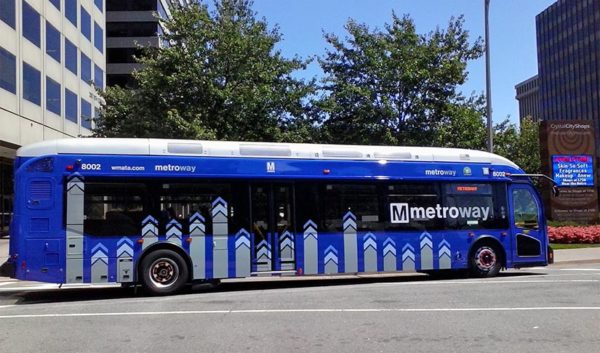 Metroway bus in Crystal City (Photo courtesy Donna Gouse)