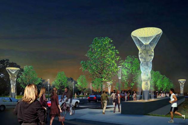 Artist rendering of Rosslyn's Corridor of Light project (image via Arlington Arts)