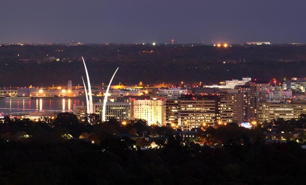 The Air Force Memorial, Potomac River and Bolling Air Force Base, as seen from Ballston (photo courtesy Andrew Clegg)