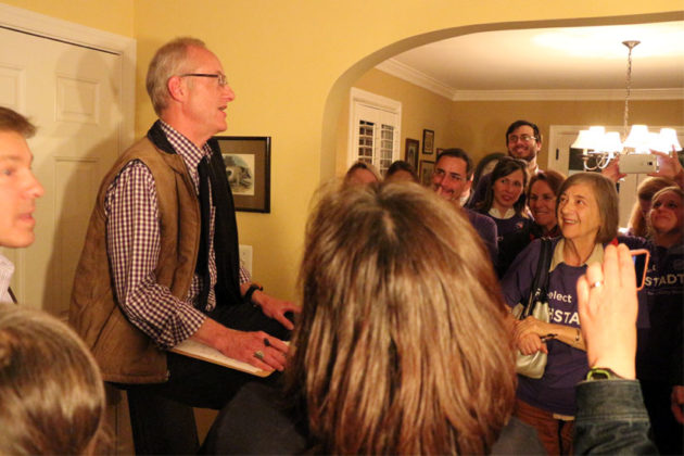 John Vihstadt gives his victory speech at his election party Nov. 4, 2014