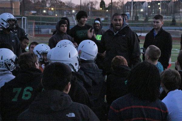 Wakefield football coach Wayne Hogwood talks to his team before the biggest game in school history