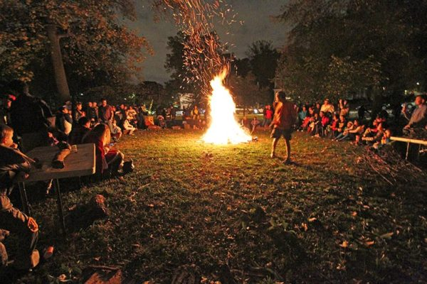 Halloween bonfire in the Lyon Park neighborhood