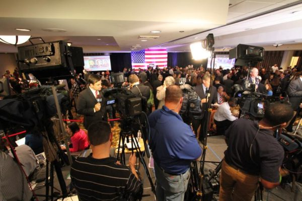 Television news crews at the DoubleTree hotel in Crystal City for Democrats Don Beyer and Mark Warner