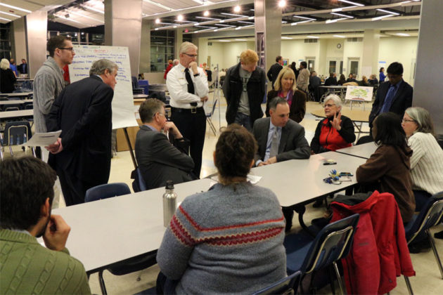 Residents discuss the FY 2016 budget with county staff