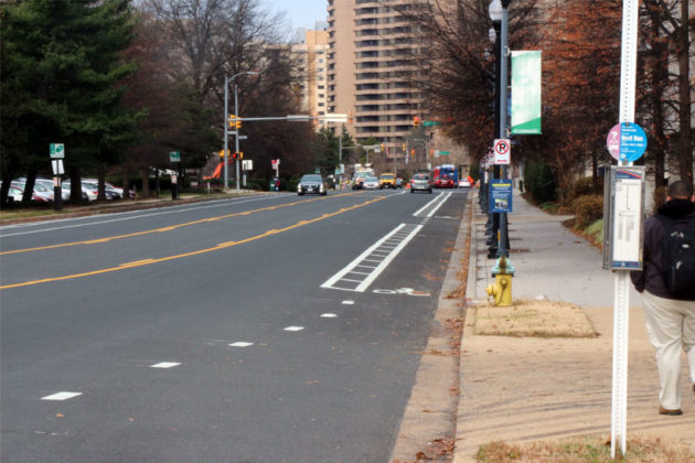 New bike lanes and road configuration on S. Eads Street in Crystal City