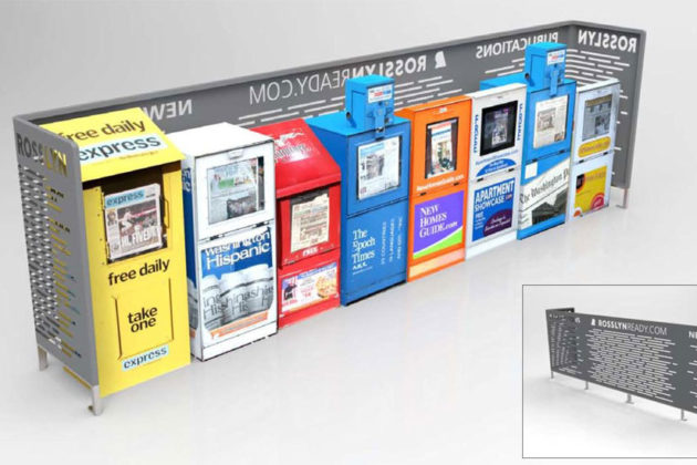 A newsbox stand designed for Rosslyn (rendering courtesy Rosslyn BID)