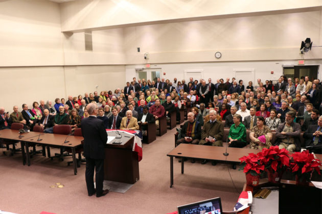 John Vihstadt speaks to a packed house during his swearing in ceremony