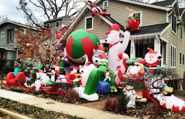 Inflatable Christmas decorations at a home in the Aurora Highlands neighborhood (Flickr pool photo by Desiree L.C.)